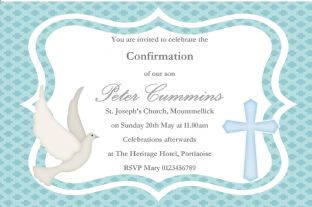 Personalised Confirmation Invitations Boy New Design 3